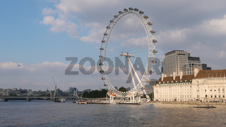 9 October 2021 - London UK: Cityscape showing River Thames and London Eye