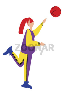 women playing ball. Cartoon vector illustration