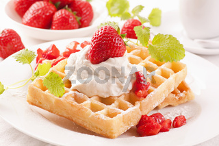 Waffels with strawberry
