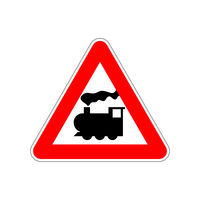 Train icon on the triangle red and white road sign on white