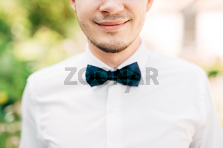 close-up portrait smiling groom with green bow tie