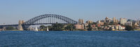 Sydney Harbor Bridge and sailing boats.