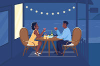 Romantic dinner outdoors flat color vector illustration