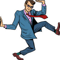 Funny businessman. Limitations and limits. A man in a suit in a funny pose