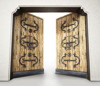 Half open elegantly ornamented old wooden door. 3D illustration
