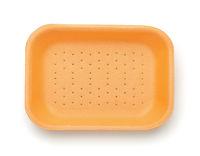 Empty orange styrofoam food container