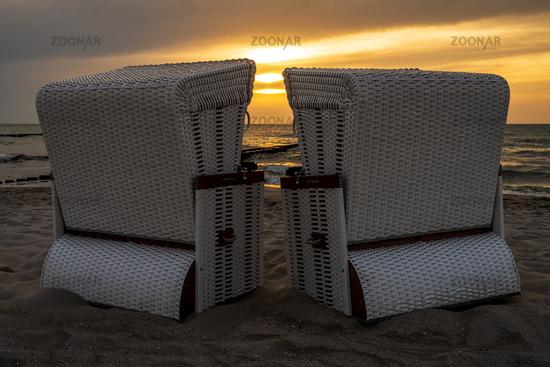 Beach chairs on the beach in Ahrenshoop, Mecklenburg-Western Pomerania, Germany