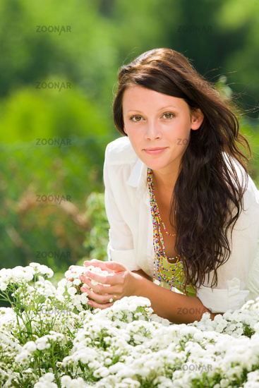 Summer garden beautiful woman care white flowers