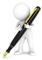 3D little human character holding a Fountain Pen. Black and Gold. People series.