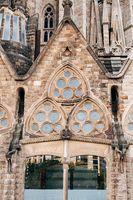 Barcelona, Spain - 15 December 2019: Windows in the facade of Sagrada Familia in Barcelona