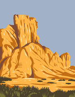 Narrow Faulted Mountain Chains and Flat Arid Valleys or Basins Within Basin and Range National Monument in Lincoln and Nye County Nevada USA WPA Poster Art