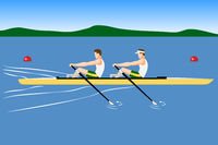 Double scull rowboat team training or competition