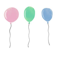set of watercolor balloons isolated on white