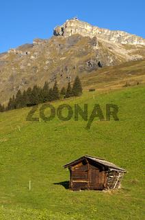 Traditioneller Speicher auf einer Alm, Schweiz