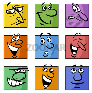 faces or emoticons cartoon illustration set