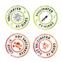 Vaccinated and not, red and green vintage round grunge stamp imprints on white