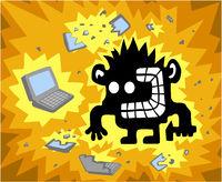 Crazy Computer Smasher Cartoon