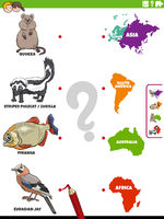 match animal species and continents educational activity
