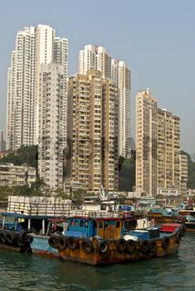 Hochhäuser am Aberdeen Channel, Hong Kong