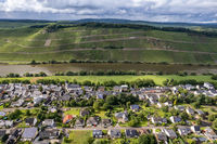 Aerial view of  landscape on the river Moselle and the village Brauneberg, Rhineland-Palatinate