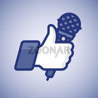 Karaoke Like/Thumbs Up symbol icon with microphone