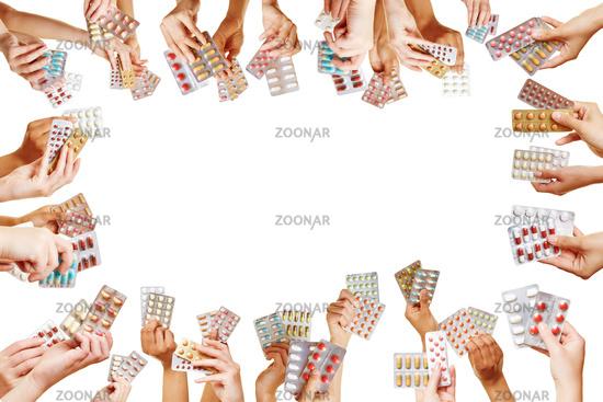 Viele Hände bilden Rahmen mit Medikamenten