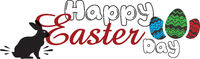 Happy Easter day greeting card sign