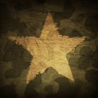 Military camouflage background with grunge star.