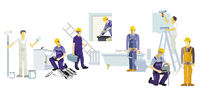 a group of craftsmen on a building project, illustration,