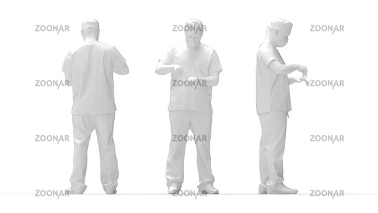 3D rendering of a male doctor isolated in a white studio background.