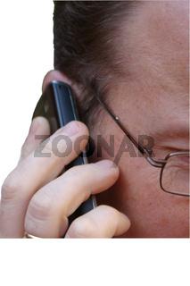 Mann mit Telefon, Handy, isoliert