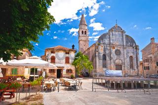 Svetvincenat ancient square and stone church view