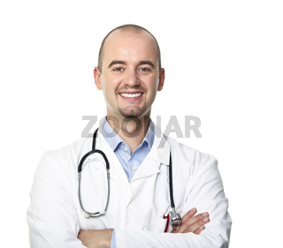 smiling doctor isolated on white