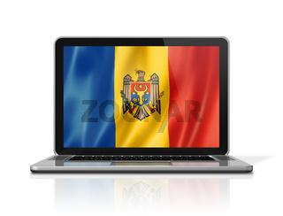 Moldova flag on laptop screen isolated on white. 3D illustration