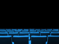 Cinema movie theatre with blue seats rows and a black background