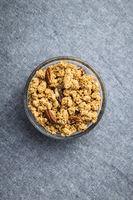 Breakfast cereal. Morning granola in bowl.