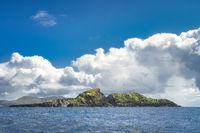 Beautiful, rough Irish coastline, Kerry Cliffs, seen from boat on Atlantic Ocean