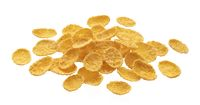 Corn flakes isolated on white background with clipping path