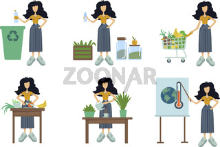 Zero waste flat cartoon vector illustrations kit. Standing woman. Healthy cooking. Global warming awareness. Herbal tea. Ready to use 2d comic character set templates for commercial, printing