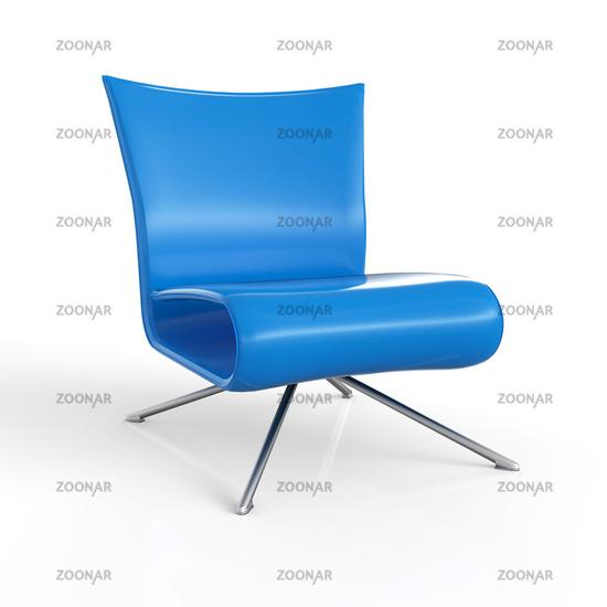 ClubStuhl Blau 3D