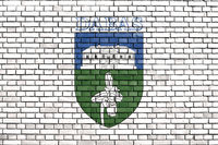 flag of Dabas painted on brick wall