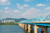 Dongjak Bridge and Han river park in Seoul, Korea