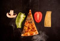 Slice of mozzarella delicious pizza tomato cheese peeper and mushroom ingredients. Food preparing