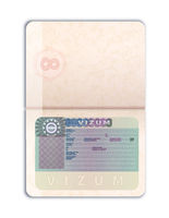 Open foreign passport with European Union visa realistic dummy template on white