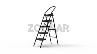 3D rendering of a folding ladder house object item isolated