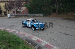 vintage car renauly alpine IN RACE IN PESARO SAN BARTOLO