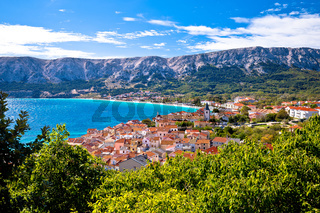 Adriatic town of Baska idyllic landscape view from the hill