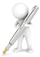 3D little human character holding a Fountain Pen. Brushed steel. People series.