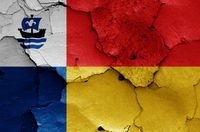 flag of Almere and painted on cracked wall