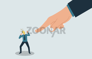 Vector illustration of a frightened man hiding his identity. A hand pointing at the impostor.